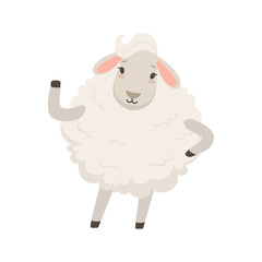 Cute white sheep character waving its hand, funny humanized animal vector Illustration