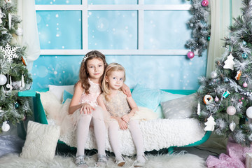Two girls in a Christmas decorations