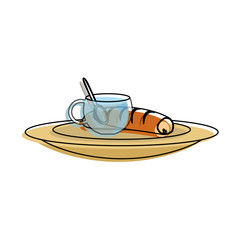 coffee cup and bread icon over white background colorful design vector illustration