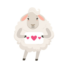 Cute white sheep character holding paper with hearts, funny humanized animal vector Illustration