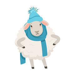 Cute white sheep character wearing blue knitted hat and scarf, funny humanized animal vector Illustration