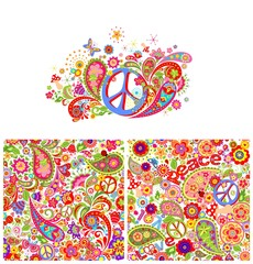T-shirt print with hippie peace symbol and hippie wallpaper with colorful abstract flowers, mushrooms and paisley