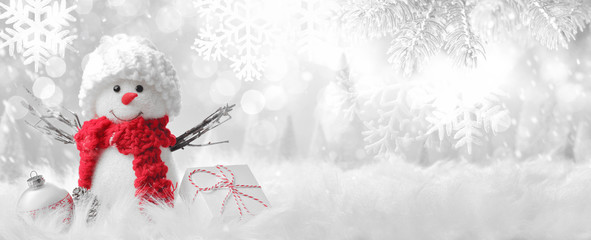 Snowman in winter setting