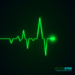 Heart pulse graphic isolated on black. Vector background.