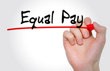 Hand writing inscription Equal Pay with marker, concept