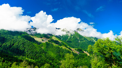 Garden Poster Green Caucasus mountains. mountain landscape