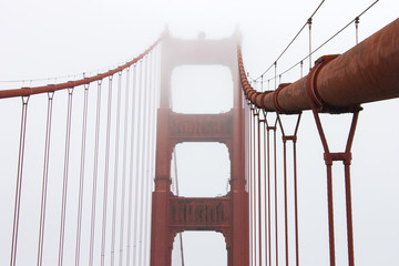 Poster Bridge Details of the Golden Gate Bridge, a painted red suspension bridge spanning the Golden Gate strait, the channel between San Francisco Bay and the Pacific Ocean