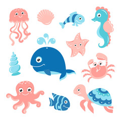 Ocean set with cartoon sea animals for baby shower scrapbooking and birthday designs
