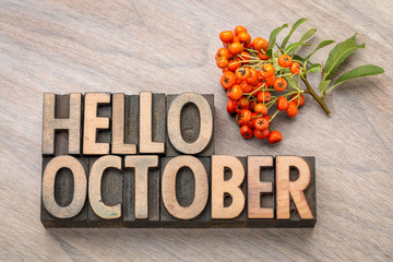 hello October word greeting card