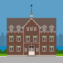 European style house, brick building, dutch architecture. Vector illustration flat design template