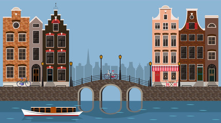Amsterdam traditional houses view with bridge, canal and boat, old city center. Vector illustration, flat design template