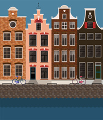 Amsterdam traditional houses view, old city center. Vector illustration, flat design template