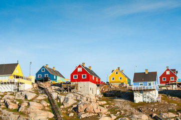 Printed kitchen splashbacks Pole Colorful houses in Ilulissat, western Greenland