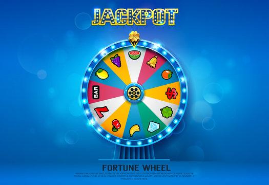 fortune wheel spinning  on bokeh background