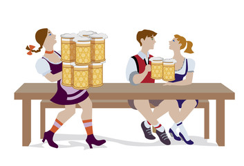 Vector illustration of couple drinking beer and woman holding a lot of beer mugs. They are wearing in traditional Octoberfest costume isolated on white background.