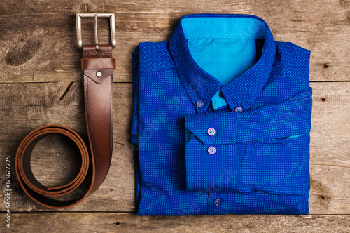 Casual Mens Fashion And Outfits On The Wooden Table Flat