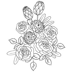 vector contour illustration of rose and exotic flowers  bouquet