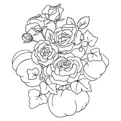 vector contour illustration of rose bouquet with pumpkins