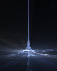 Blue spire science fiction abstract fractal design for backgrounds and wallpapers