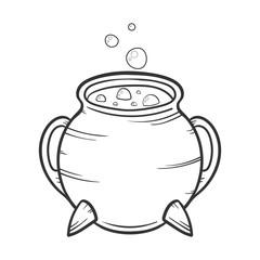 cartoon Black cauldron with gurgling potion , halloween concept, vector illustration