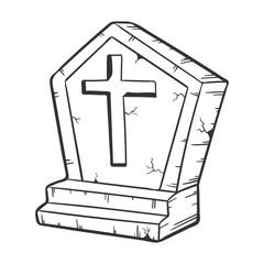 cartoon tombstone grave, halloween concept, vector illustration