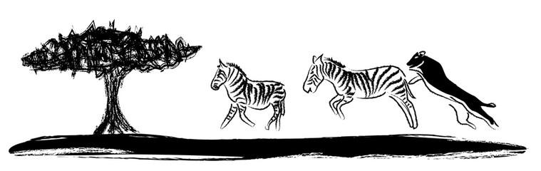 Afrika Wandtattoo Zebras mit Löwe