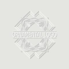 Vintage white geometrical linear 3d vector frame, label for your logo. Vector illustration