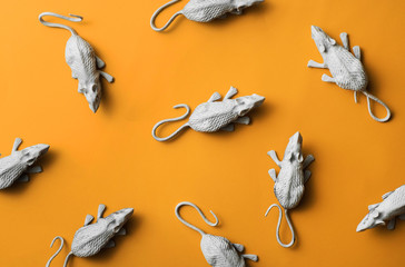 White rats/mouses on orange background.toy/replica