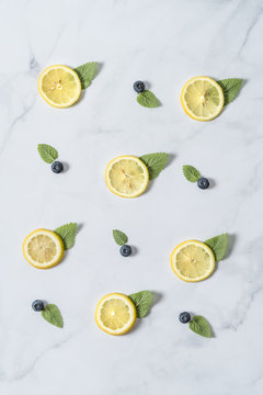 Flavor Pattern With Lemon, Mint and Blueberries