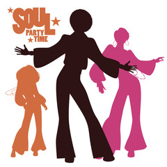 Silhouettes of three dancing soul, funk or disco. Retro style.