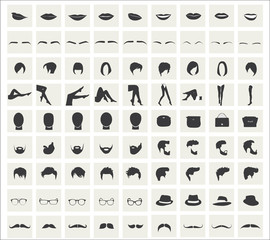 Collection of vector icons on fashion themes