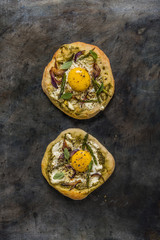 Pesto Egg Onion and Asparagus Pizza