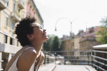 Happy beautiful black woman portrait