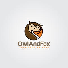 Owl And Fox Animal Logo