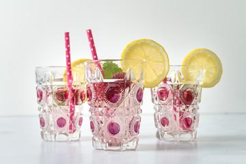 Group of Raspberry Lemon Beverages