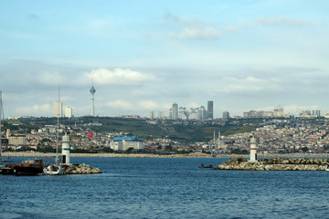 Buyukcekmece port and coasts of Buyukcekmece in Istanbul, Turkey