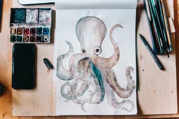 Octopus in watercolor