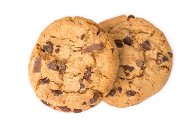 Two chocolate chip cookies isolated on white background.