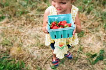 little girl holding a basket of strawberries