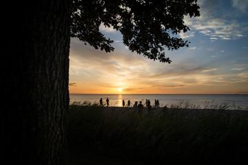 sunset people watching