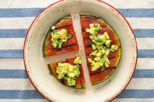 Grilled Watermelon with Avocado, Cucumber, Jalapeno salsa