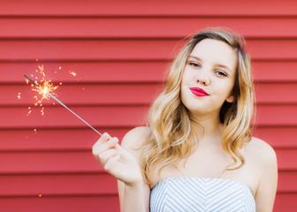 Teen with a Sparkler