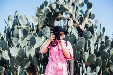Young woman in sunny Cactus Garden