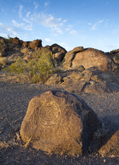 Native American rock art (petroglyph) carvings on rock formations, near Phoenix, AZ