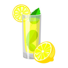 A glass of fresh lemon juice with mint leaves and half lemon. Vector illustration.