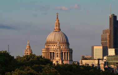 The view of the dome of Saint Paul's Cathedral, City of London.
