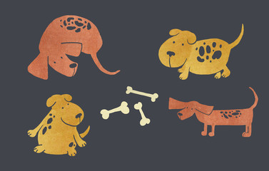 Set of funny puppies and bones. Vector illustration