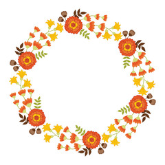 Vector Autumn Floral Wreath