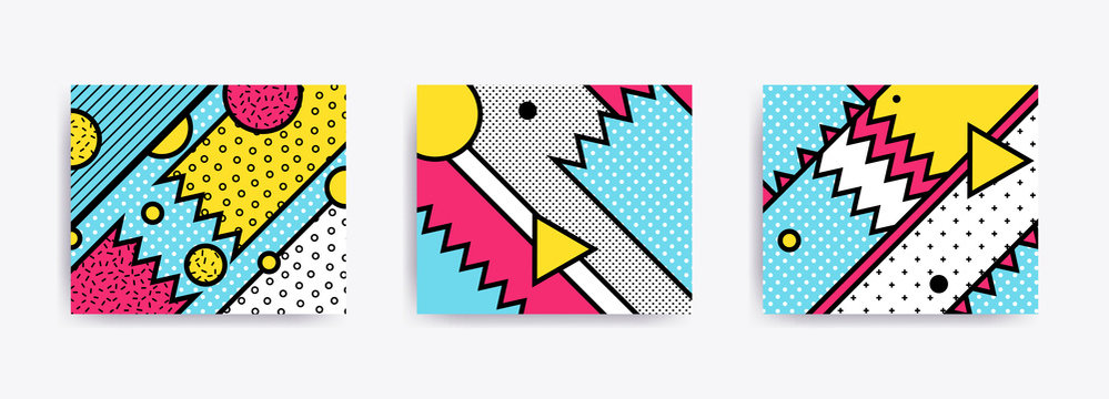 Colorful trend Neo Memphis geometric backgrounds
