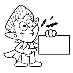 Black And White Dracula Mascot has been directed towards business card. Halloween Day Isolated Vampire Vector Illustration.